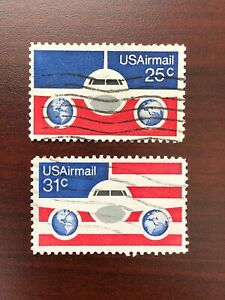 US #C89, C90 Plane, Globes & Flag Used 1976