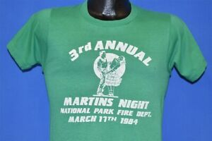 vtg 80s 3RD ANNUAL MARTIN'S NIGHT NATIONAL PARK FIRE DEPT DISTRESSED t-shirt S