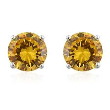 CANARY FANCY YELLOW SIMULATED DIAMOND STUD EARRINGS STERLING SILVER TCW 13.20