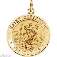18K Solid Gold Round Medium  Saint St. Christopher Medal Pendant Charm 4.2g NEW