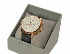 Guess Mens PROTOCOL Watch - Black Leather Strap - Rose Gold Tone - W0916G2