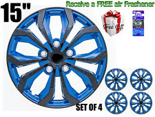 """15"""" inch Hubcaps CAR+ """"SPA"""" ABS BLUE AND BLACK (4 pieces) Wheel Covers R15"""