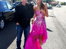 Authentic Sherri Hill 8502 Prom Dress pink/gold high-low size 2