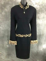 BEAUTIFUL St John collection jacket knit black fringe suit blazer size 12