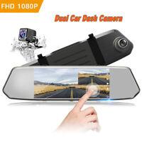 "TOGUARD Backup Camera 7"" Mirror Dash Cam Touch Screen HD1080P Rearview Dual Lens"