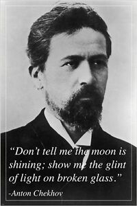 inspirational PHOTO QUOTE poster ANTON CHEKHOV russian playwright 24X36 HOT