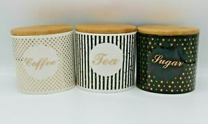 Set of 3 Tea, Sugar and Coffee Air Tight Jars Cannisters Storage Ceramic Round
