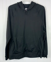 Russell Athletic Mens Henley Hoodie Black Dri Power 360 Zipper Pocket Large