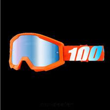 100% Por Cien Strata de espejo Motocross MX Cruz Gafas Naranja BMX MTB DH