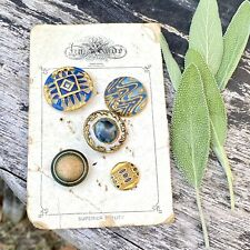 Antique Victorian Buttons On Card Painted Brass Fancy Ornate Button Lot