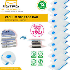 12 x LARGE SPACE SAVING VACUUM STORAGE BAGS CLOTHES BEDDING ORGANIZER VACUM