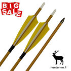 """30""""Feather Carbon Arrows for Recurve and Compound Bow Spine 500 White Yellow"""