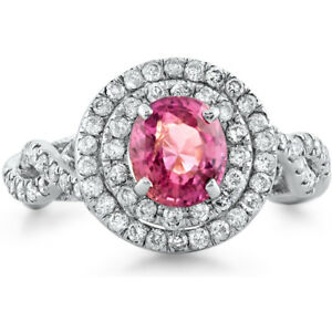Certified 1.78cttw Pink Sapphire 0.85cttw Diamond 14KT White Gold Ring