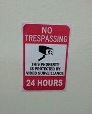 VIDEO SURVEILLANCE Security Decal Warning Sticker cctv (no tresp..24hrs ) 1 pc