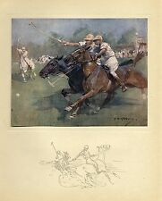 POLO HORSES PLAYING A GAME OF POLO ANTIQUE COLOR PRINT MALLETS BALL SPORTS