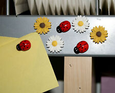 Sunflower & ladybird fridge,memo,decor magnets.  A little gift idea Set of 7 .