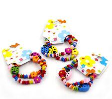 12 Novità Misti Braccialetti Elastici Perline in Legno per Bambini 19cm lungo