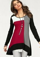 Boysen's Damen Shirt Longshirt Colorblock Schwarz/Rot Größe 34 XS *674429*