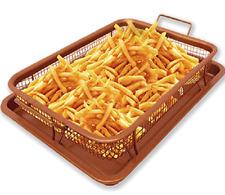 Copper Non Stick Crisper Oven Air Fryer Tray Basket Set Dishwasher Safe