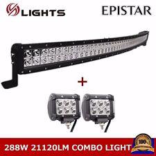 "50""inch 288W Combo LED Light Bar Curved Light + 2X  4"" 18W Cree Spot Pod Lights"