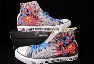 Superman~Converse All Stars~High Tops~Size 8