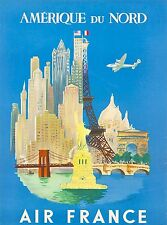 Amerique Du Nord North America Vintage Airline United States Travel Poster Print