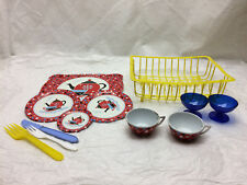 Vintage Childs Metal Tin Tray Plastic Rack Toy Tea Dish Set
