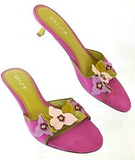 Unisa Tulles Raspberry Suede w/Green Leather & Floral Decor Mules Size 7 1/2 M