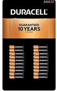 32-Pack Duracell AAA Alkaline Battery Triple A Coppertop AAA32x1 Exp:2028