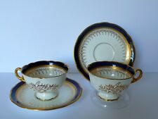 Set of 2 Coalport Cobalt Blue Cups & Saucers