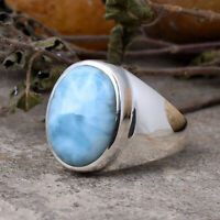 Solid 925 Sterling Silver Dominican Larimar Gemstone Ring Mens Ring Jewelry M11