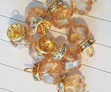 15 mm Oro Topacio AB Cristal Elegante Vestido Abrigo Botón Coser en Joya Diamante de Imitación