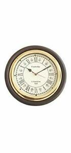 Antique Nautical Round Wall Clock Steel Time Style Wooden 12 inches Vintage