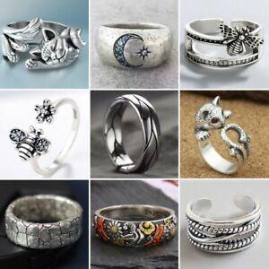 925 Sliver Flower Animal Open Adjustable Zircon Retro Finger Ring Women Jewelry