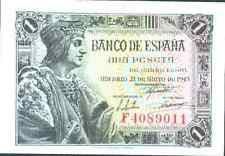 SPAIN 1 PESETA 1943  P 126  UNC CONDITION.  4RW 19 SET