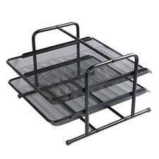 Moustache® 2-Tiers Office Steel Mesh Document Tray File Basket Organizer, Black