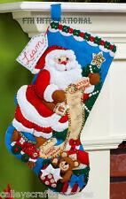 "Bucilla Santa's List & Toy Bag ~ 16"" Felt Christmas Stocking Kit #86481 New 2014"