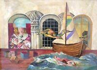 DAVID MESHULAM (1930-1987), Oil on Canvas, Surreal Landscape, Signed