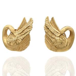 Vintage Textured Swan Earrings in 18K Yellow Gold