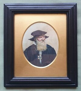 Beautiful miniature portrait of a Tudor Gentleman.  By. K.W.R. 1912