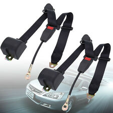 2x 30cm 3 Point Universal Auto Car Retractable Safty Seat Belt Adjustable /Black