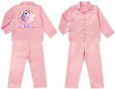 Children's Personalised UNICORN Satin Silky Pyjamas PJ's Child's Gift Nightwear