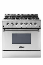 Stainless Steel 36In dual fuel range 6 burner bottom electric oven Thor Kitchen