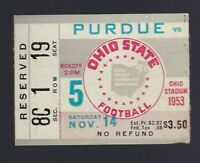 1953 NCAA PURDUE BOILERMAKERS @ OHIO STATE BUCKEYES FOOTBALL TICKET STUB