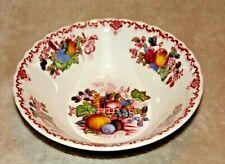 "Masons Red Multicolored Fruit Basket Made In England Fruit/ Desert Bowl 5""X 1"""