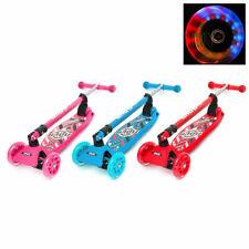Flashing LED Light Up Kids Scooter Child Kick 3 Wheel Push Adjustable Folding UK
