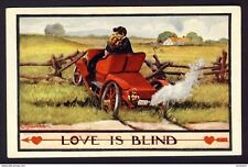 LOVE IS BLIND Man woman kissing car fence 1910 SRC LYSTER STATION QUE Wall a/s