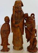 CHINESE ANTIQUE 3 IMMORTALS CARVED WOOD STATUES CHINA