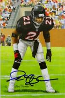 Deion Sanders Autographed Atlanta Falcons Goal Line Art Card-Beckett Auth *Black