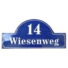 Hausnummer Hausnummernschild Emaille 24x50 cm mit Wunschstraßennamen und Nummer